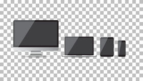 Realistic device flat Icons: smartphone, tablet, laptop and desk Royalty Free Stock Images
