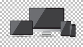 Realistic device flat Icons: smartphone, tablet, laptop and desk. Top computer. Vector illustration on isolated background Stock Image