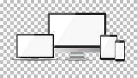Realistic device flat Icons: smartphone, tablet, laptop and desk Stock Photo