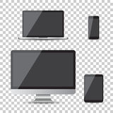 Realistic device flat Icons: smartphone, tablet, laptop and desk. Top computer. Vector illustration on isolated background Royalty Free Stock Image