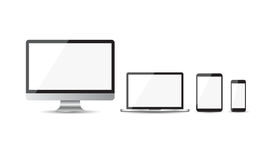 Realistic device flat Icons: smartphone, tablet, laptop and desk Royalty Free Stock Photo