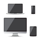 Realistic device flat Icons: smartphone, tablet, laptop and desk. Top computer. Vector illustration on white background Stock Image