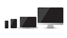 Realistic device flat Icons: smartphone, tablet, laptop and desktop computer. Stock Images