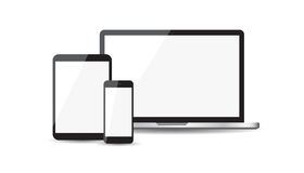 Realistic device flat Icons: smartphone, tablet, laptop. Vector Royalty Free Stock Photography