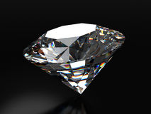 Realistic diamond placed on black background with soft reflection, 3d illustration. Stock Images