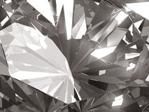 Realistic diamond texture close up with light reflection, 3D illustration. Royalty Free Stock Photography