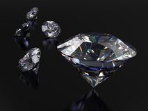 Realistic diamonds on dark background with caustic and light reflection. Stock Photo