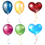Realistic different balloons set. On white background Stock Photos
