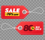 Realistic discount red tags isolated on checkered background. Big sale promotion. Royalty Free Stock Photo