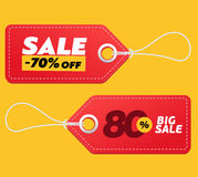 Realistic discount red tags isolated on yellow background. Big sale promotion. Royalty Free Stock Photos