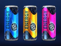 Realistic Disposable Energy Drink Cans In Different Colors Of Design Vector Template Isolated On White Background Stock Images