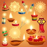Realistic Diwali Set. Realistic set of candles fireworks and decorations for diwali holiday isolated vector illustration Stock Photography