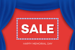 Realistic drape, theater curtain. Happy Memorial Day Greeting Card. Royalty Free Stock Photos