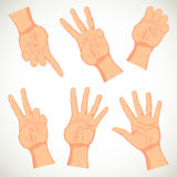 Realistic drawing hand. Cards in a hand. Six poses. Vector illustration Stock Illustration