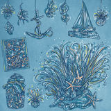 Realistic drawings of the marine object and fishermen With an even starfish starfish, Royalty Free Stock Images