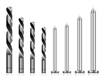 Realistic drill bit and steel nail. Set on white Stock Photo