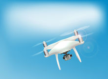 Realistic drone quadrocopter with camera flying in the sky. Vector illustration Royalty Free Stock Image