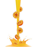 Realistic drop orange juice splash  on white background Stock Photography