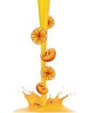 Realistic drop orange juice splash on white background vector illustration