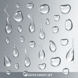 Realistic drops pure, clear water on light gray background. Isolated vector Stock Image