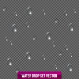 Realistic drops pure, clear water on transparent background. Vector Royalty Free Stock Photography