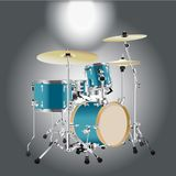 Realistic Drum kit Background 2. Realistic Drum kit  on a Gray background vector for use Royalty Free Stock Photo