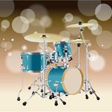 Realistic Drum kit Background 4. Realistic Drum kit  on a Tan Style background vector Stock Photos