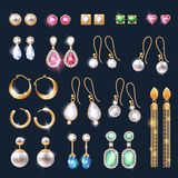 Realistic earrings jewelry accessories icons set. Stock Image