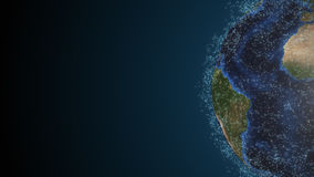 Realistic earth with abstract connection dots Stock Images
