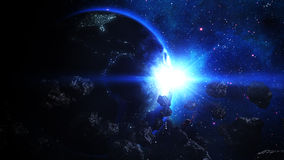 Realistic Earth attacked by Asteroids. From Deep Space Royalty Free Stock Photos
