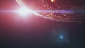 Realistic Earth orbiting Sun over world skyline