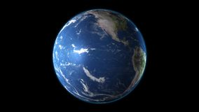 Realistic Earth rotating on a black background. Seamlessly loopable animation.  vector illustration