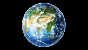 Realistic Earth Rotating on Black (Loop)