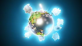 Realistic earth rotating on blue loop. Globe is centered in frame, with correct rotation in seamless loop. stock video