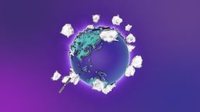 Realistic earth rotating on blue loop. Globe is centered in frame, with correct rotation in seamless loop. stock footage