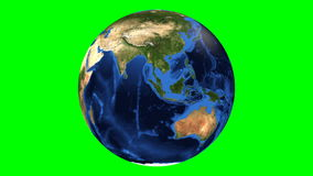 Realistic Earth Rotating on green screen.