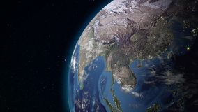 Realistic Earth rotating in space loop. On the planet Earth is visible the change of day and night
