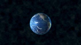 Realistic Earth slowly rotating around its axis. High resolution surface