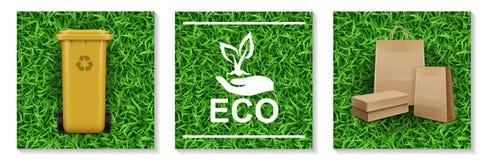 Realistic Ecology And Nature Elements Set stock illustration
