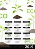Realistic Ecology 2019 Year Calendar Concept vector illustration