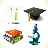 Realistic education icons set Stock Images