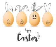 Realistic eggs with painted elements. Happy easter. Vector. Illustration royalty free illustration