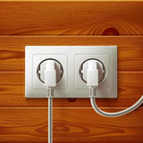 Realistic electric double white socket and two Stock Photo