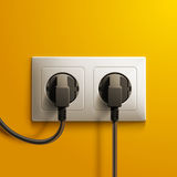 Realistic electric white double socket and two Royalty Free Stock Photo