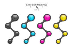 Realistic elements for infographics. Multicolored glossy balls. Option number. For your business project. 4 steps. A selection of. Metal elements. Vector Royalty Free Stock Images