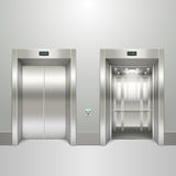 Realistic elevator open and closed doors Royalty Free Stock Photography