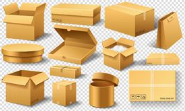 Realistic empty cardboard box Opened. Brown delivery. Carton package with fragile sign on transparent white background. Set of isolated mockup for web royalty free illustration