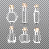 Realistic empty Chemistry glass bottles of potion set. Love potion. Realistic icicles with snow set on transparent background. Vector illustration vector illustration