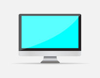 Realistic Empty computer display with blue screen Stock Photography