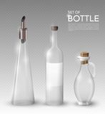 Realistic Empty Glass Bottles Collection. For olive oil or different beverages on transparent background vector illustration royalty free illustration